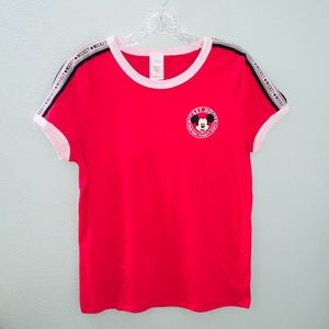 Disney Mickey Mouse Red Crew Neck Ringer Tee Shirt